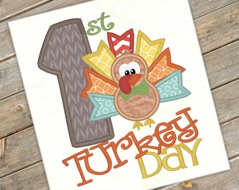 First Turkey Day Embroidery Saying Turkey Day Design Thanksgiving Embroidery Turkey Applique Embroidery Design Petunia Petals Designs 1156
