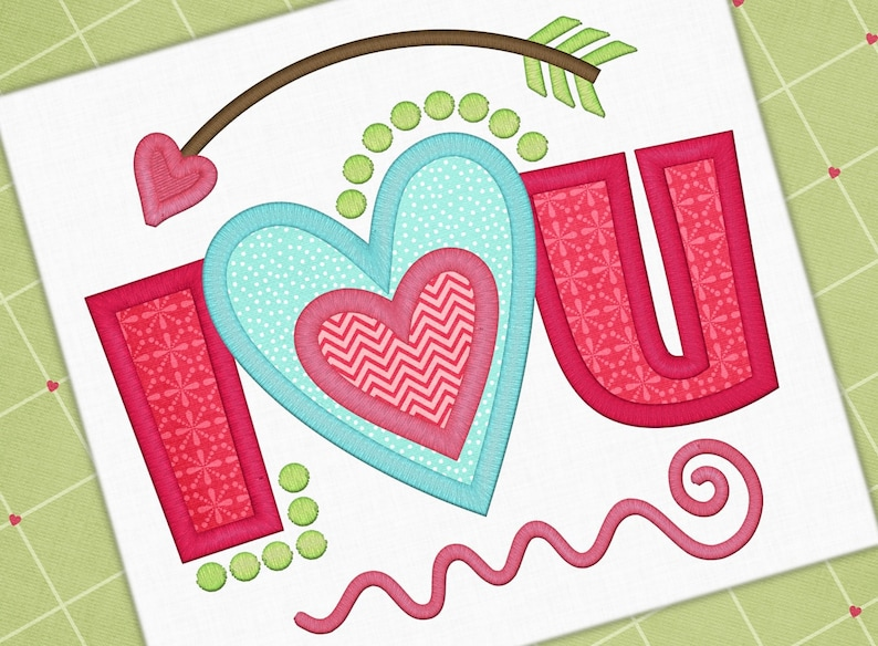 Valentine applique design love you applique love design etsy