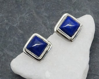 Lapislazuli blau eckig Vintage Hippie Design Anhänger 925 Sterling Silber neu