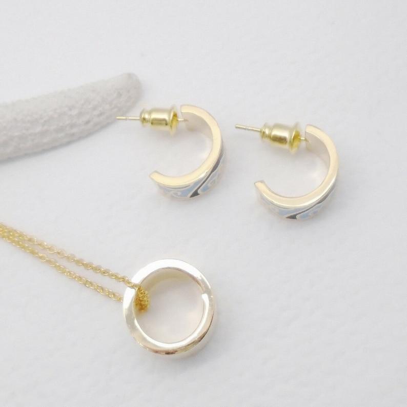 Enamel black blue turquoise modern design stud earrings hoop earrings pendant chain set jewelry set modern gold plated new