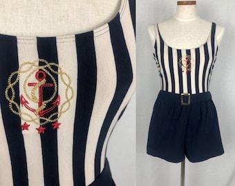 Vintage 90/'s Nautical Sailor Playsuit bathing suit size medium