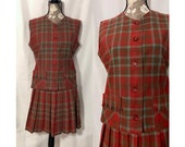 vintage 1950s skirt set size small 50s red green plaid shell top pleated school girl separates pockets wool autumn winter holiday