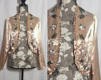 Vintage 1940s Silk Beaded Jacket // S-M