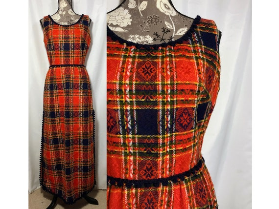 Vintage 60s Abstract Checkerboard Wool Shift Dress with Peter Pan Collar; 60s Justin McCarty Plaid Holiday Dress