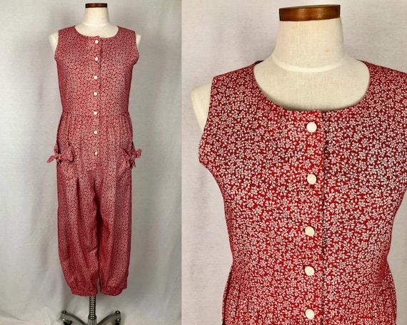 vintage 1990s jumpsuit // size large // 90s red fl