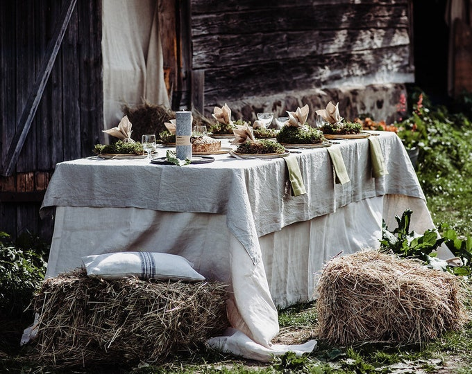 Washed Natural Linen Tablecloth - Pure Linen Tablecloth - Washed Linen Tablecloth -Rustic Wedding - Christmas Tablecloth - Easter Tablecloth