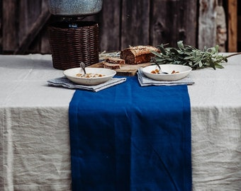 Dark Blue Table Runner - Pure Linen Table Runner - Blue Table Runner - Natural Linen Table Runner - Easter Table Linen - Wedding Table