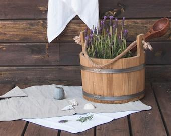 Organic Bath Mat and towels - Washed Linen Mat - Double-layered mat - Linen rug - Denim linen mat - Sauna mat - Linen rug - Natural yoga rug