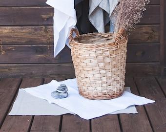 Linen bath mat - Pure linen double-layered feet towel -Gray linen bath mat - Waffle linen - Home Spa Rug - Bath linen rug - Yoga mat / rug