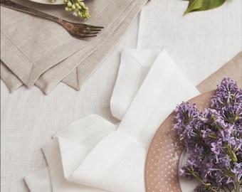 Pure Linen Napkin Set of 6 8 10 12 - Light Grey Linen Napkins - Elegant Napkins - Wedding Napkins - Christmas linen napkins - Easter napkins