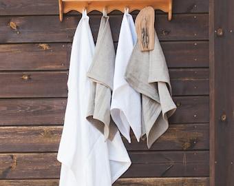 Natural Bath Towel + Bath Mat, White / Grey Washed Linen Towel of Natural Flax, Pure linen towel, Sauna towel, Beach blanket, Sauna sheet