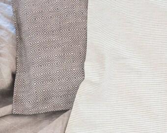 Brown Gray  Linen Pillow Cover in a diamond pattern -  Dark Grey Linen Throw Pillow - Natural Linen Cushion Cover - Scandinavian Style Linen