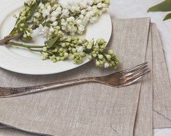 Linen napkin set of 50 for the wedding,  Light grey napkins of natural linen flax, Bulk napkins,  Elegant wedding napkins, Birthday party
