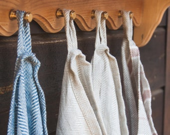 Organic Bath Towels + Bath Mat -  Linen Bathroom Set - Blue Linen Towels - Home Spa Set - Sauna Towel Set - Linen Bath Sheet - Herringbone