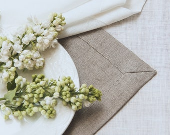 Pure Linen Placemat Set of 4 6 8 10 - Natural Gray Linen Placemat - Pure Linen Placemats - Undyed Linen - Easter Table - Christmas Placemats
