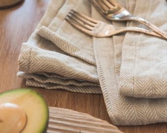 Soft Linen Towel Set of 3 - Natural Linen Tea Towel - Organic Linen Towel - Linen Dish Towel - Softened Linen Towel - Kitchen Towel - Gift