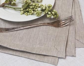 Pure Linen Placemat Set of 6 8 10 - Light Grey Linen Placemat - Natural Linen - Wedding Linen Placemat- Rustic Placemat - Christmas placemat