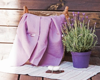 100% Linen Bath Sheets  - Set of 3 Washed Linen Towels - 1 Large and 2 Small Towels - Sauna linen towels - Natural linen towel -Home spa