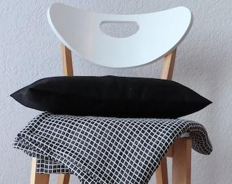 Black Linen Throw Pillow of Natural Flax, Lumbar Linen Pillow, Pure Linen Cushion Cover,  Organic Linen Throw Pillow in Custom Size,  Gift