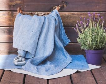 Linen Bath Mat + Towels - Blue Linen Bath Set - Double-layered mat - Grey linen rug - Linen Sauna set - Pure linen bath rug - Yoga rug