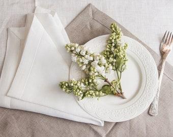 White Linen Napkin Set of 6 8 10 12 - Elegant Linen Napkins - Wedding Linen Napkins - Christmas napkin set - Christmas table decor - Easter