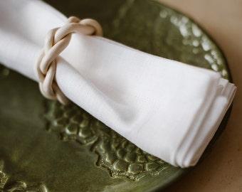 Linen Napkin Set of 6 8 10 12 - White Linen Napkins  - Softened Linen Napkins - Rustic  Wedding Napkins - Birthday Table - Rustic Christmas