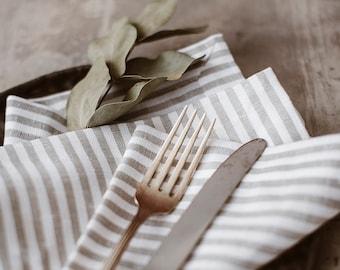 Striped Linen Tablecloth + Napkins - White Grey Linen Tablecloth - Christmas Tablecloth - Christmas Table Decor - Striped Linen Tablecloth