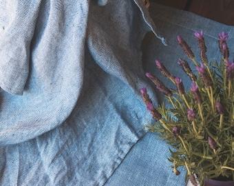 Soft Pure Linen Blanket - Natural Linen  Blanket in a herring bone pattern - Blue Linen Throw Blanket - Beach Blanket - Bedspread - Summer