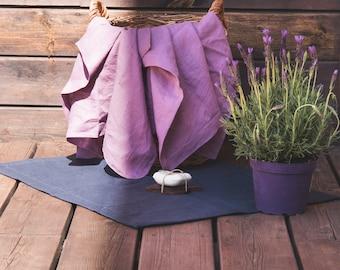 Natural Linen Mat - Linen double-layered mat - Dark gray linen -  Linen bath mat - Sauna mat - Bath linen rug - Natural yoga mat - Home Spa