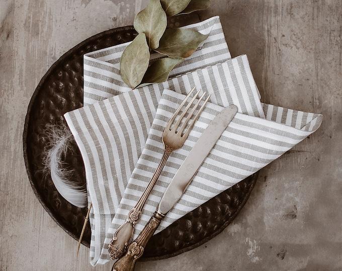 Striped Linen Napkin set of 6 8 10 - White Grey Napkins - Ticking Striped Linen - Easter Linen Napkins - Christmas Napkins - French Style