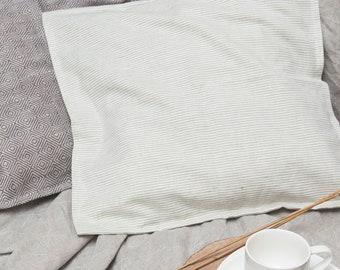 Striped Linen Pillow - Pure Linen Throw Pillow Cover - Linen Decorative Pillow - Grey Cushion Cover - Natural Pillow - Ticking StripePillow