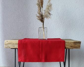 Red Linen Table Runner - Christmas Table Runner - Natural Linen Table Runner -  Red Table Runner - Valentine's Day Table- Christmas Decor