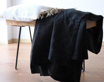 Pure linen blanket in black color, Softened linen throw blanket for summer, Thick linen summer cover, Organic linen beach blanket, Gift