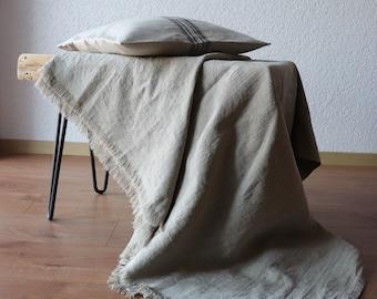 Natural Linen Throw Blanket - Pure Linen Blanket - Softened Linen Bed Cover - Linen Bedspread - Beach Blanket - Undyed Linen -Gift Idea