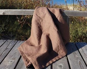 Brown linen throw blanket, Natural linen blanket, Organic linen summer cover, Natural linen bed cover, Birthday gift idea, Christmas gift