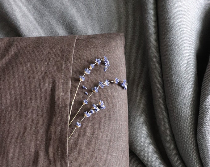 Brown linen pillow of natural flax, Pure linen pillow, Organic linen cushion cover, Linen throw pillow in custom size,  Birthday gift idea