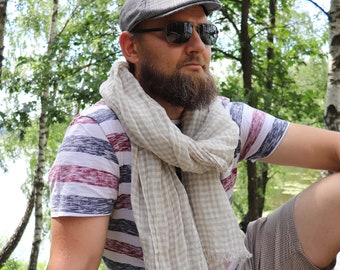 Unisex scarf of natural linen flax, Checked linen scarf of softened flax, White Grey linen shawl, Beach shawl, Gift for him or her, Throw