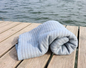 Wool Linen Blanket in a herringbone pattern, Soft Throw Blanket, Blue Grey Linen, Thick Linen Bed Cover, Woolen Blanket, Christmas Gift
