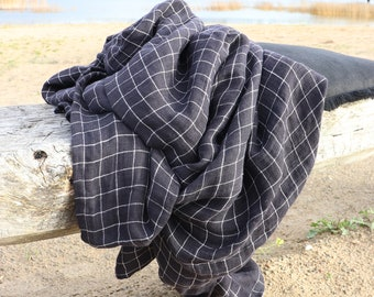 Black linen plaid blanket, Natural  linen  throw, Pure linen blanket in a plaid pattern, Softened linen cover, Baby blanket, Christmas gift