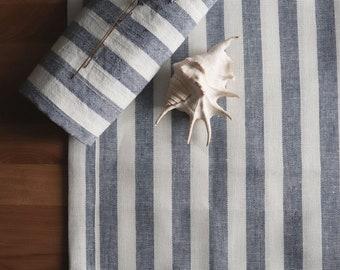 Striped linen mat made of natural linen flax, Double-layered bath mat, Pure linen sauna mat rug, Organic linen rug of natural linen flax