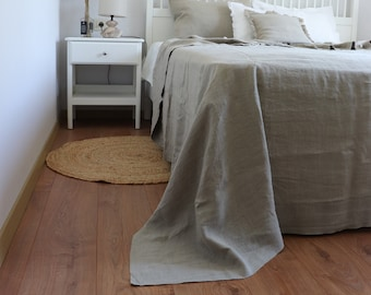 Linen bedspread, Natural linen bed cover, Linen bed throw, Linen counterpane, Linen summer cover 100% linen blanket, Twin size, queen size.