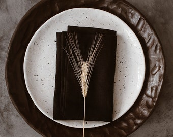 Black Linen Napkin Set of 4 6 8 10  - Elegant Linen Napkins - Wedding Linen Napkins - Christmas napkin set - Easter  napkins - Pure linen