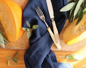 Pure linen washcloth set of 3 made of natural flax,  Blue linen dish towels, Pure linen dishcloths, Softened linen tea towels, Hand towels