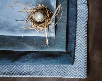 Natural Linen Placemat Set of 6 8 10 12, Dark Blue Linen Placemats, Linen Placemats, Rustic Placemats, Easter Placemats, Christmas Decor