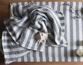 Striped Linen Towel Set: 1 Large Bath Towel, 2 Hand Towels and Bath Mat, White Blue towels of pure linen, Set for bathroom, Home Spa set