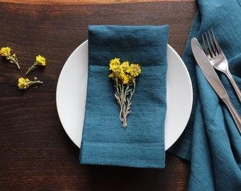 Blue Linen Napkin Set of 6 8 10 of organic flax,  Pure Linen Napkins, Narural Linen Napkins, Elegant Christmas Napkins, Easter Table Decor