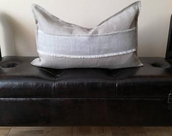 Gray Lumbar Pillow Cover - Throw Pillow - Linen Decorative Pillow - Natural Linen Throw Pillow - Grey Linen Cushion Cover - Herring bone Rug