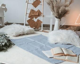 Natural linen mat rug made of organic flax for kids room / bedroom, Double-layered door bed mat, Pure linen yoga mat rug, Organic gift idea