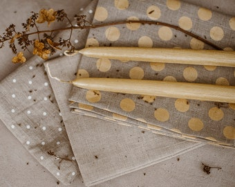 Tablecloth and Napkins of pure linen - Gold Polka Dot Linen -  Natural Linen Tablecloth - Wedding Linen Tablecloth - Luxurious Linen  Set