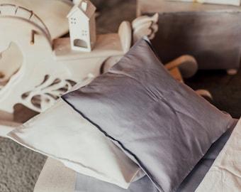 Organic pillow cover of natural linen flax,  Pure linen throw pillow, Linen decorative pillow, Dark blue linen cushion, Organic linen pillow